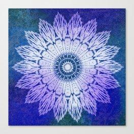 tie dye sunflower mandala in blues Canvas Print
