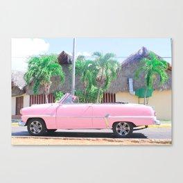 Pink Vintage Car in Havana Canvas Print