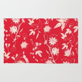 Red Passiflora Floral Pattern Rug