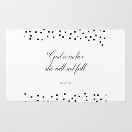 Psalm 46:5 God is within her, she will not fall Religious Art Print Rug