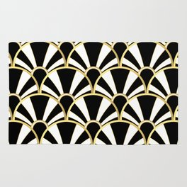 Black, White and Gold Classic Art Deco Fan Pattern Rug