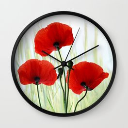 Poppies red 008 Wall Clock