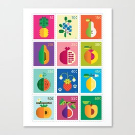 Fruit Stamps 12 Canvas Print