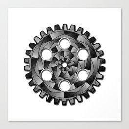 Gearwheel in black and white Canvas Print