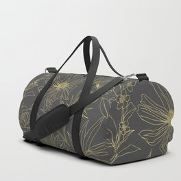 Simple garden flowers gold outlines design Duffle Bag