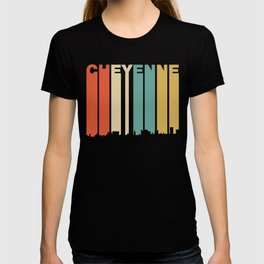 Retro 1970's Style Cheyenne Wyoming Skyline T-shirt