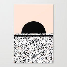 Terrazzo Stone Pattern Black and Orange Peach Canvas Print