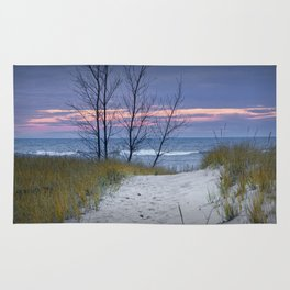 Sunset Photograph of Trees and Dune with Beach Grass at Holland Michigan Rug