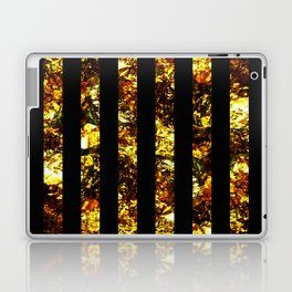 Golden Stripes - Abstract, black and gold, metallic, textured, stripy pattern Laptop & iPad Skin