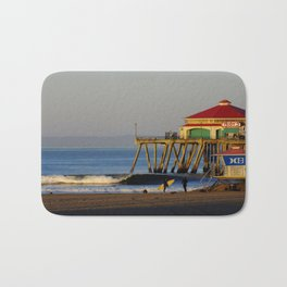 Morning Surfing Huntington Beach Pier Bath Mat