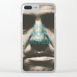 The Godfather, minimalist movie poster, Marlon Brando, Al Pacino, Francis Ford Coppola gangster film Clear iPhone Case