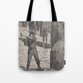 Vintage Illustration of a Lumberjack (1871) Tote Bag