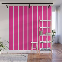 Vertical Lines (White & Rose Pattern) Wall Mural