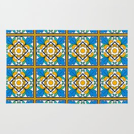 Vintage Majolica Tiles Rug