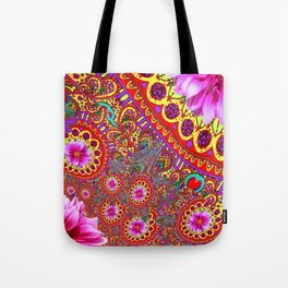 BOHEMIAN  FUCHSIA FLORALS  IN RED-YELLOW COLOR ART Tote Bag