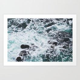 OCEAN - ROCKS - FOAM - SEA - PHOTOGRAPHY - NATURE Art Print