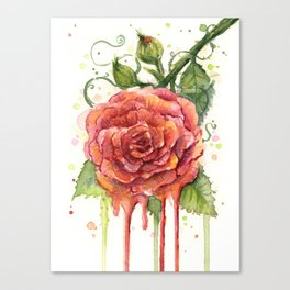 Red Rose Dripping Watercolor Flower Canvas Print