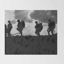 Soldier Silhouettes - Battle of Broodseinde Throw Blanket