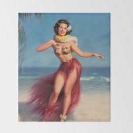 Hula Girl Vintage Pin Up Art Throw Blanket