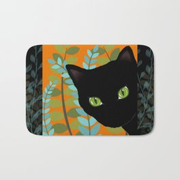 Black Kitty Cat In The Garden Bath Mat