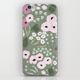 Pink Poppies - kaki floral pattern iPhone Skin