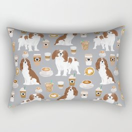 Cavalier King Charles Spaniel coffee lover custom pet portrait by pet friendly dog breeds Rectangular Pillow