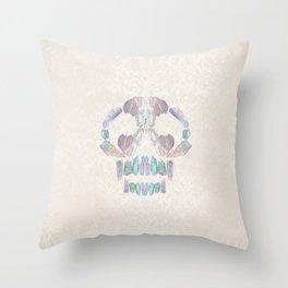 Aurora Quartz Skull Throw Pillow