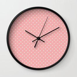 Classic White Small Polka Dot Spots on Blush Pink Wall Clock