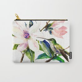 Hummingbird and Magnolia Flowers Carry-All Pouch