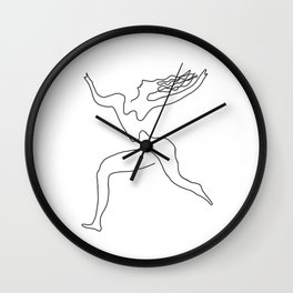 One line Picasso variant (with hair) Wall Clock
