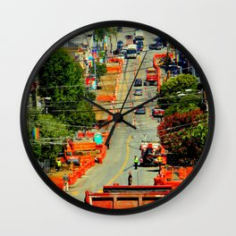 Orange Alert - There Goes The Neighborhood Wall Clock