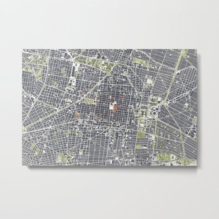 Mexico city map engraving Metal Print