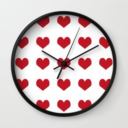 Hearts pattern red and white minimal modern essential valentines day gifts for anyone love Wall Clock