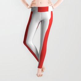 Vivaldi Red - solid color - white vertical lines pattern Leggings