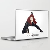 black widow Laptop & iPad Skins featuring Black Widow by trenchcoatandimpala