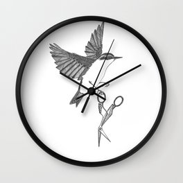 nuthatch absconds with your embroidery scissors Wall Clock