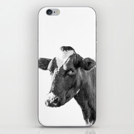 Cow Photography Animal Art | Minimalism black and white | black-and-white | Peek-a-boo iPhone Skin