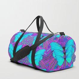 MODERN ART NEON BLUE BUTTERFLIES SURREAL PATTERNS Duffle Bag