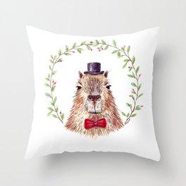 Sir Capybara Throw Pillow