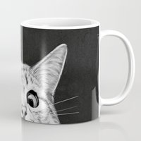 creepy Mugs featuring You asleep yet? by Laura Graves