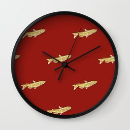 Watercolor Catfish Repeat Red Background Wall Clock