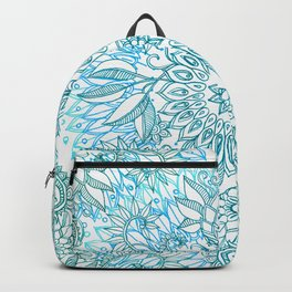 Turquoise Blue, Teal & White Protea Doodle Pattern Backpack