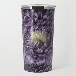 Metallic Purple Mums on a Metal Background Travel Mug