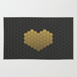 Beehive Hexagonal Geometric Heart Rug