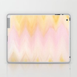 Modern hand painted pink yellow watercolor chevron ikat Laptop & iPad Skin