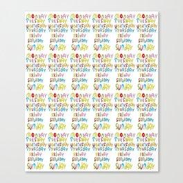 days in a week 1- day,week, daytime,dia,semana,child,school Canvas Print