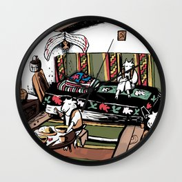 The Goat With Three Kids Fairytale Wall Clock