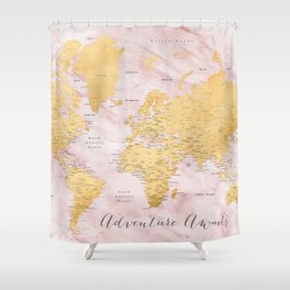 """Adventure awaits, gold and pink marble detailed world map, """"Sherry"""" Shower Curtain"""