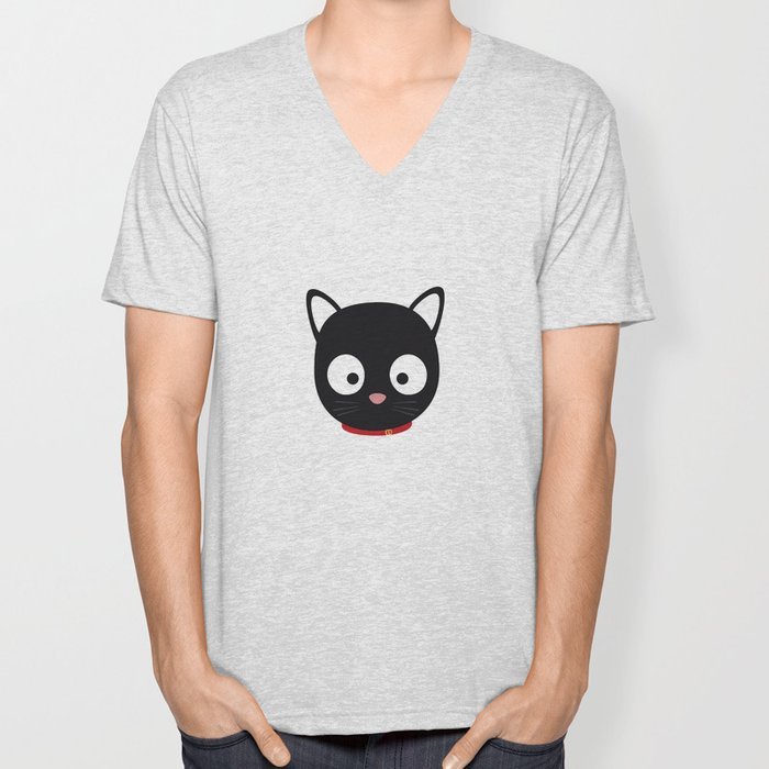 Cute black cat with red collar Unisex V-Neck