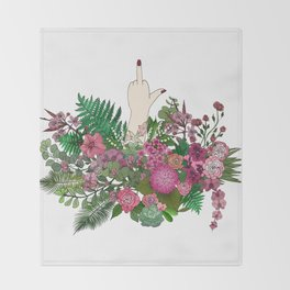 Botanical Bird Bouquet Throw Blanket